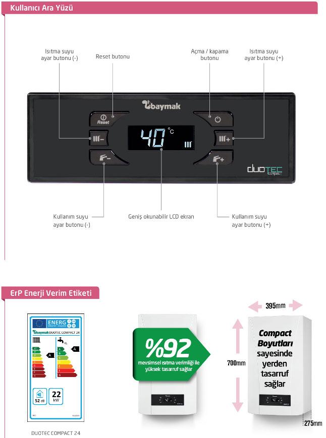 Baymak Duotec Compact 24 Kullanıcı Ara Yüzü